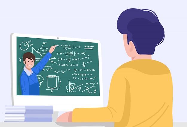Online-bildung, ein schüler, der eine videokonferenz mit dem lehrer zu hause hat.