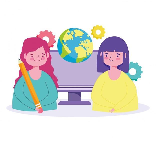 Online-bildung, glückliche studentinnen welt computer bleistift klasse illustration