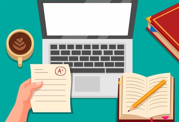 Online-bildung, hand, die papierprüfung mit laptop-, kaffee- und buchkonzept in der karikaturillustration hält