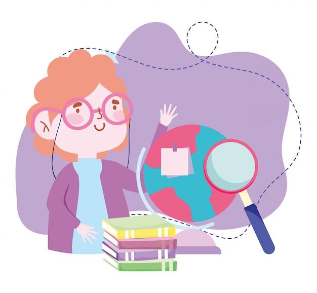 Online-bildung, lehrer schule globus bücher und magnfier