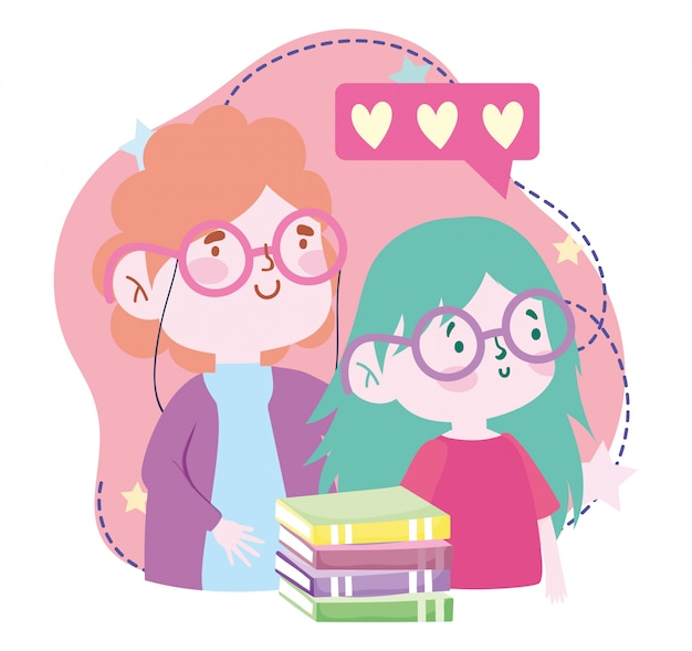 Online-bildung, lehrerin und schülerin mit büchern