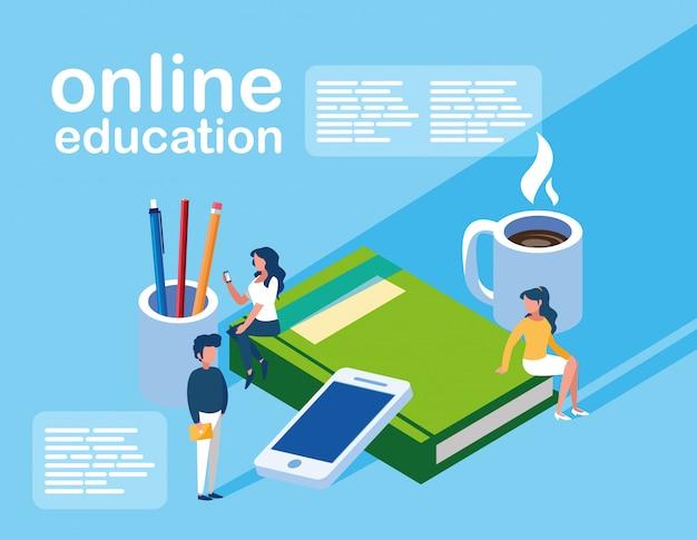 Online-bildung mini-menschen mit smartphone und e-books