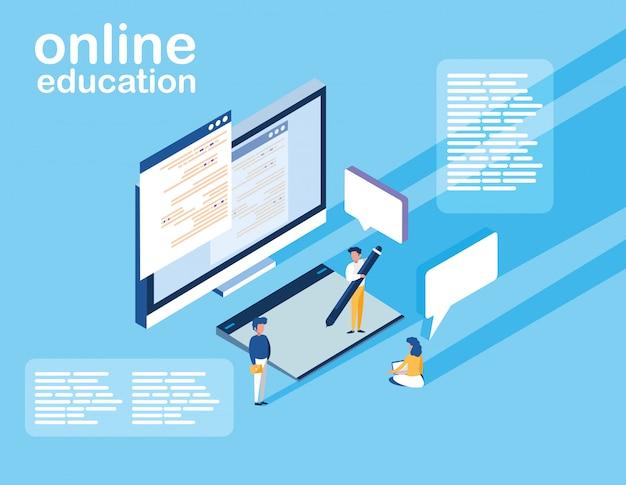 Online-bildung mit desktop- und mini-leuten