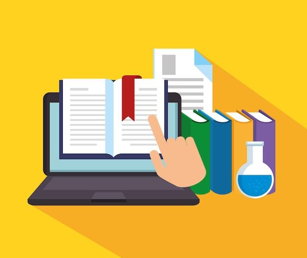 Online-bildung mit laptop