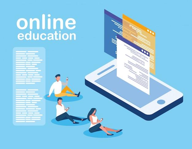 Online-bildung mit smartphone und mini-menschen