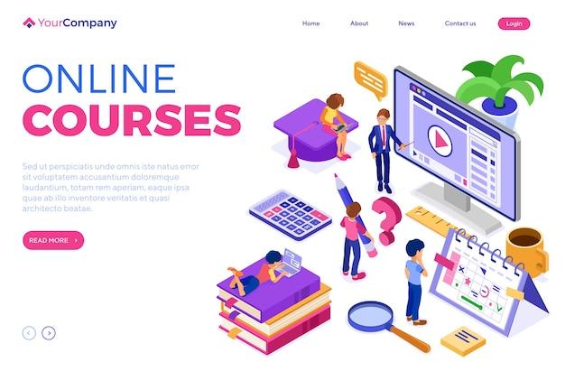 Online-bildung oder fernprüfung mit isometrischem charakter internetkurs e-learning von mädchen und jungen zu hause, die auf einem laptop mit isometrischer lehrerausbildung lernen