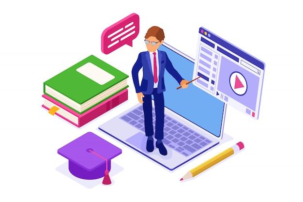 Online-bildung oder fernprüfung mit isometrischem charakter internetkurs e-learning von zu hause laptop mit lehrer isometrische bildung isoliert