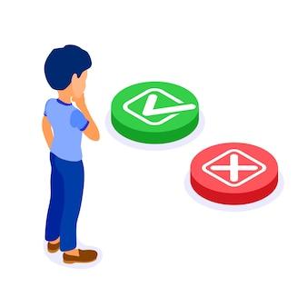 Online-bildung oder fernprüfung mit isometrischem charakter mann trifft die wahl. ja oder nein grüner knopf mit häkchen oder roter knopf mit isometrischer kreuzprüfung