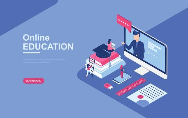 Online-bildung, online-schulungen isometrisch