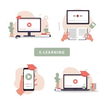 Online-bildung. schulungs- und video-tutorials.