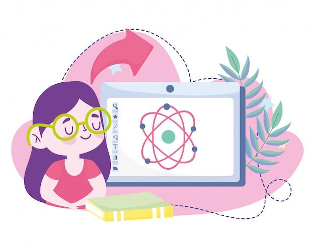 Online-bildung, studentin computer bücher wissenschaft molekül,