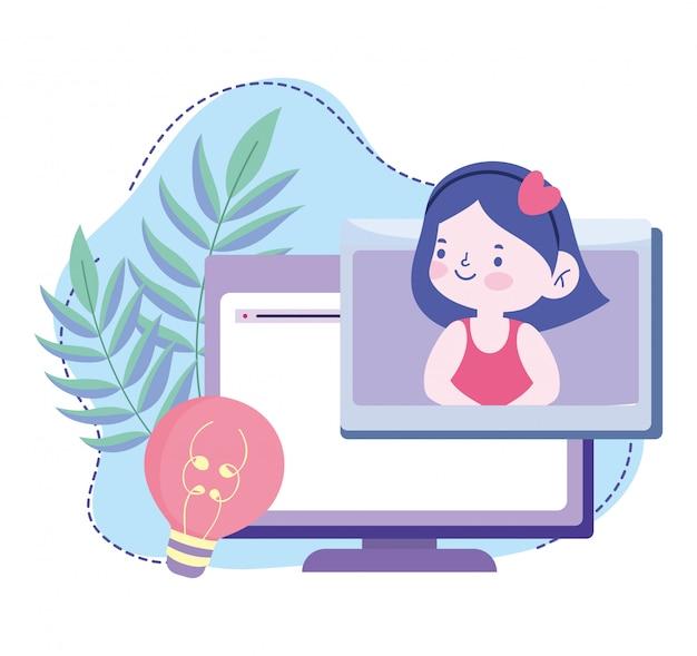 Online-bildung, studentin computer kreativität klasse