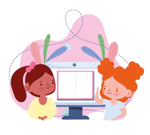Online-bildung, studentinnen studieren am computer