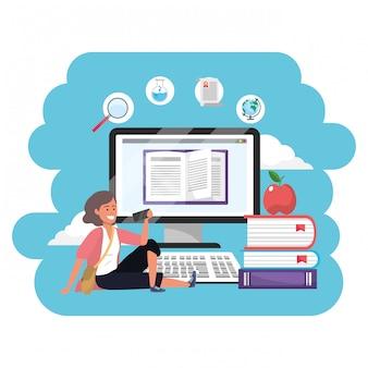 Online-bildung tausendjähriger student