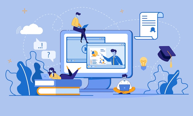 Online-bildung und e-learning über digitale geräte