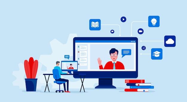 Online-bildung und lernen mit videokonferenz und online-meeting