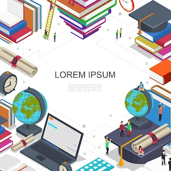 Online-bildung und lernkomposition mit studenten im e-learning-prozess laptop-zertifikat globus bücher wecker in isometrischer stil illustration