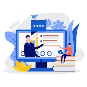 Online-bildung und unterricht, web-seminar, internet-unterricht, digitales klassenzimmer, workshop-konzept.