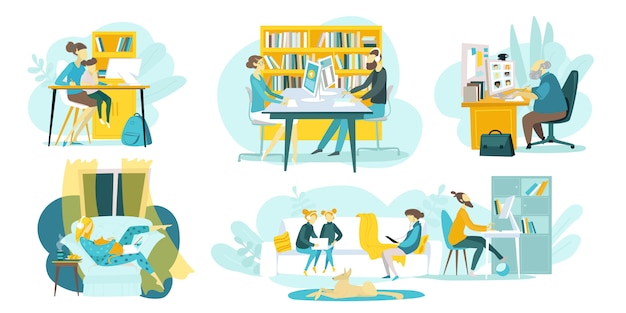 Online-bildung, unterrichtskurse, illustration von webtechnologien mit fernunterricht und lehrern, online lernenden schülern. internetschulen für kinder und fernunterricht.
