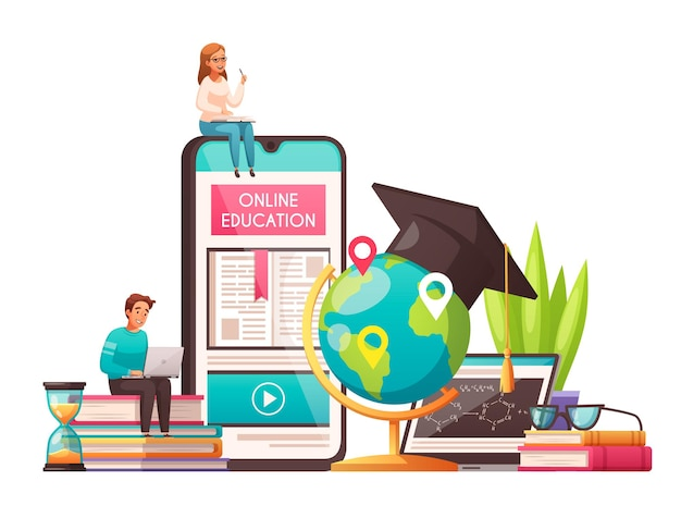 Online-bildung weltweite cartoon-komposition mit studenten mit abschlusskappe, die auf smartphone-büchern sitzen, stapeln sanduhr