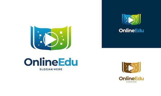 Online-bildungs-logo-design-konzept, online-video-bildungs-logo-design