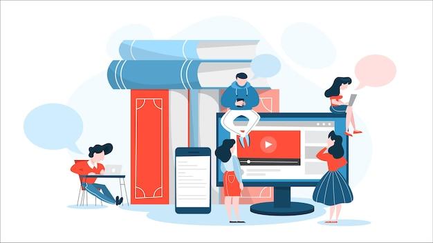 Online-bildungs- und kurskonzept. idee des e-learning
