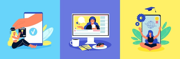 Online-bildungsdesignkonzept mit quadratischer illustration