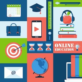 Online-bildungsikonen in der bunten collage, illustration. satz aufkleber mit symbolen in der flachen art.