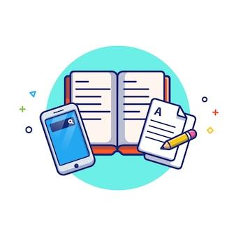 Online-bildungsillustration. buch, notizen und smartphone. bildungsikonen-konzept weiß isoliert