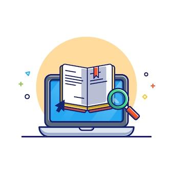 Online-bildungsillustration. buch und laptop. bildungsikonen-konzept weiß isoliert