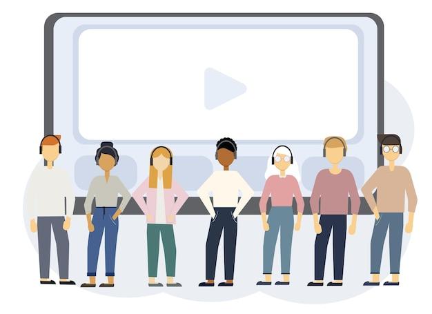 Online-bildungsillustration mit laptop-monitor und menschen in kopfhörern