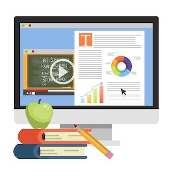 Online-bildungskonzept. digitales training und distanz