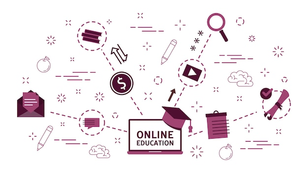 Online-bildungskonzept. idee des fernstudiums über das internet