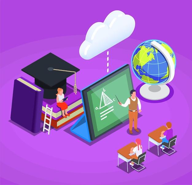 Online-bildungskonzept mit isometrischen symbolen von tablet-büchern, globuscharakteren von lehrern und schülern 3d-darstellung