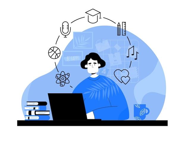 Online-bildungskonzept. video-podcast. frau mit computer, der im flachen stil studiert.