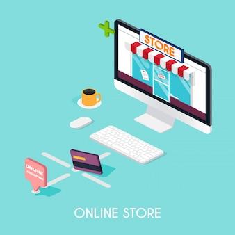 Online-bildungskonzept. wissenschaftskonzept mit buchcomputer und studienikonen. e-learning.