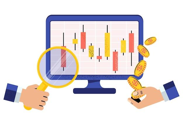 Online-börsenmakler. hand mit lupe und hand mit geld in der nähe des computermonitors. japanisches candlestick-chart. finanzmarkt. aktienkurse und rohstoffpreise. flache vektorillustration.