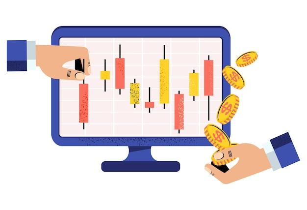 Online-börsenmakler verfolgt das japanische candlestick-chart japanisches candlestick-chart