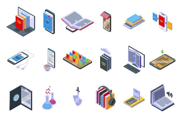Online-buchhandlung-icons stellten isometrischen vektor ein. offenes buch
