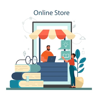 Online-buchhandlungskonzept. frau kaufen digitale bücher auf smartphone. isometrische illustration des isolierten vektors isolierte vektorillustration