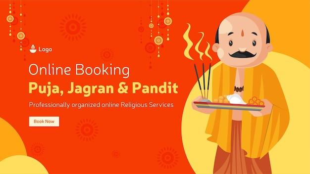 Online-buchung für puja jagran und pandit banner design-vorlage