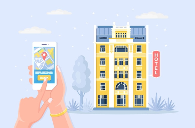 Online buchung hotel. mobile app für die suche, reservierungsraum für den urlaub