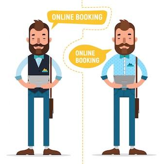 Online-buchung. mann macht online-bestellung
