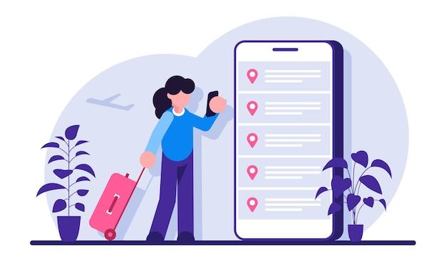 Online-buchung von flugtickets. frau, die ticket mit smartphone kauft