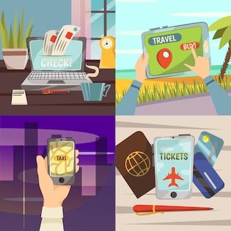 Online-buchungsservice-icon-set