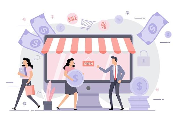 Online-business-illustration von leuten, die transaktionen auf dem laptop durchführen