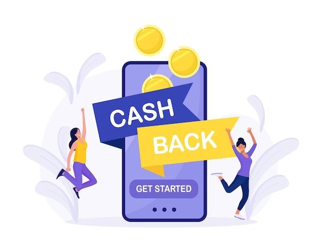 Online-cashback- oder geldrückerstattungskonzept. glückliche menschen, die cashback für den einkauf erhalten. großes telefon mit knopf um das cashback zu starten. geld sparen, gutscheine und rabatte erhalten, prämienprogramm