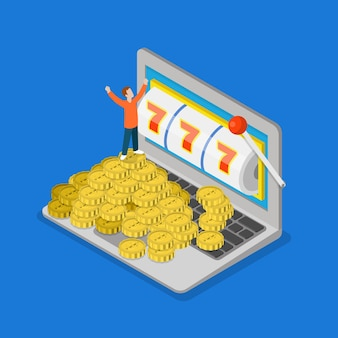 Online-casino flach 3d isometrischer glückserfolg glücksspiel vektorkonzept mikroleute und riesiger laptop Kostenlosen Vektoren