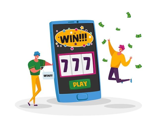 Online casino, konzept der finanziellen freiheit. glückliche junge männer, die super aufgeregt schreien, erhalten jackpot.
