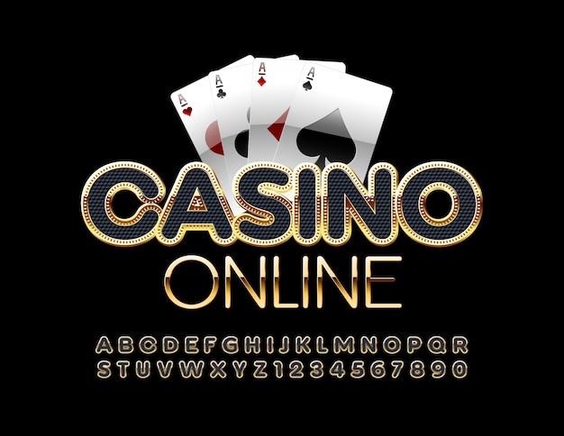 Online casino mit spielkarten. schwarz und gold alphabet buchstaben und zahlen